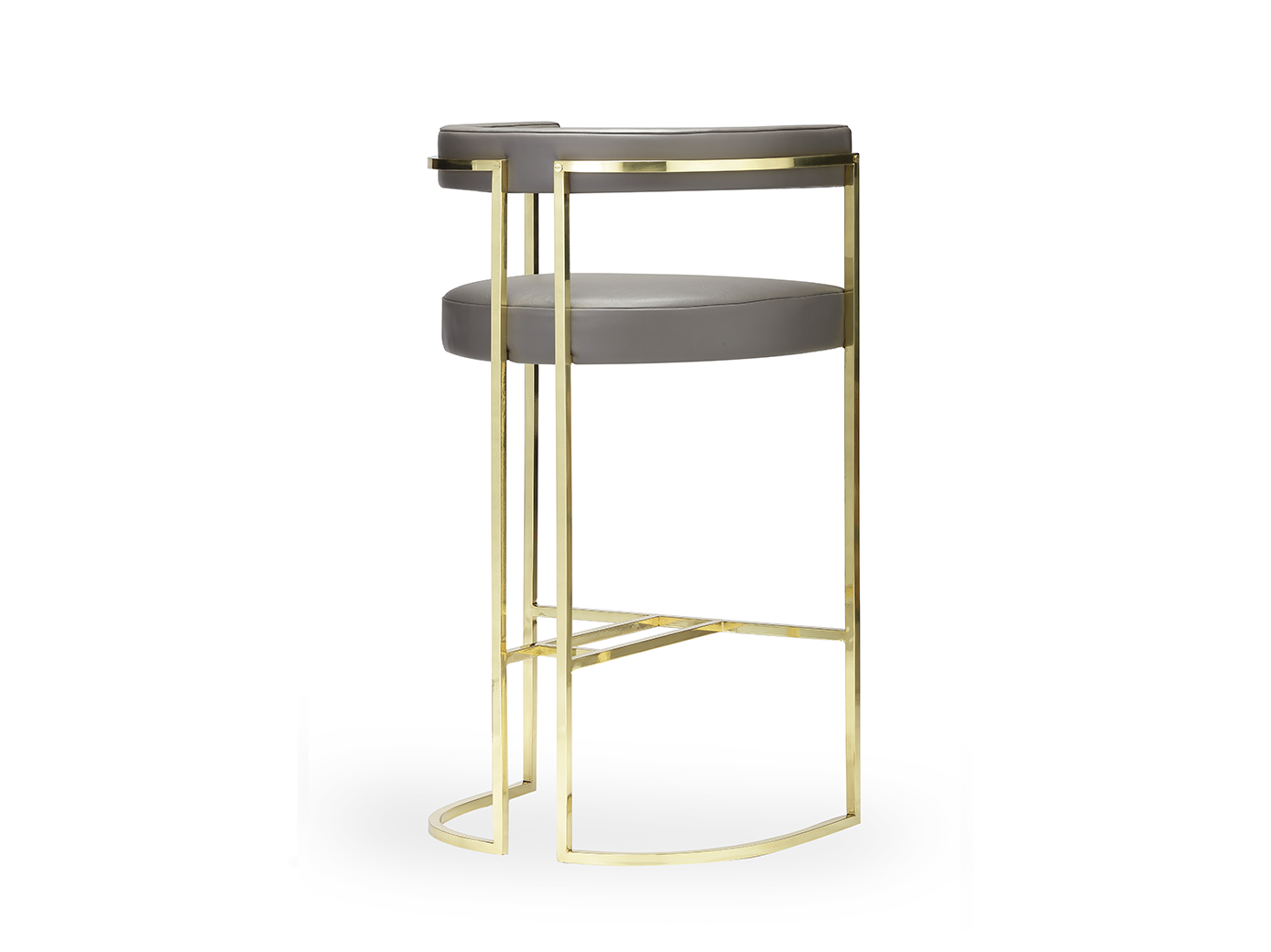 Shown upholstered in leather and featuring a curved polished brass frame making this furniture range so unique, this bar stool sets a very special scene for socialising. (...)