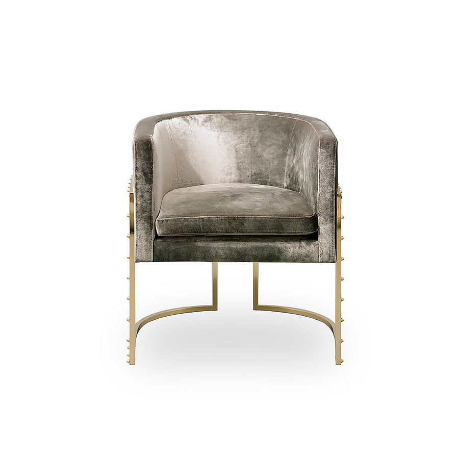 Julius Studded Chair Brass - Chairs