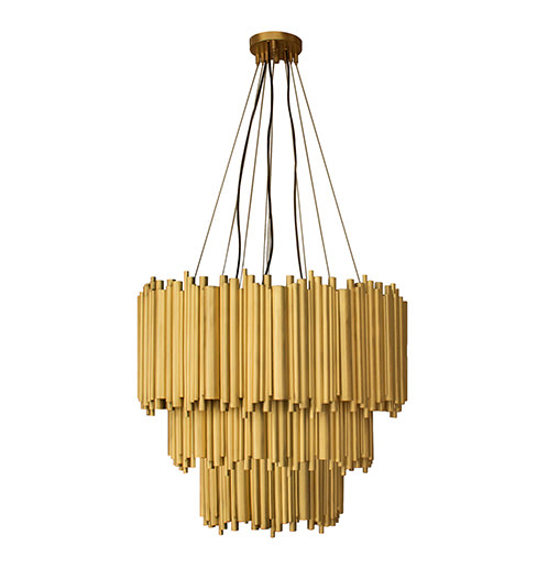 Brubeck fixture is an instant classic sculptural design. An extravagant shape full of refinement and modernity. 100% handmade in brass tubes it's possible to create (...)