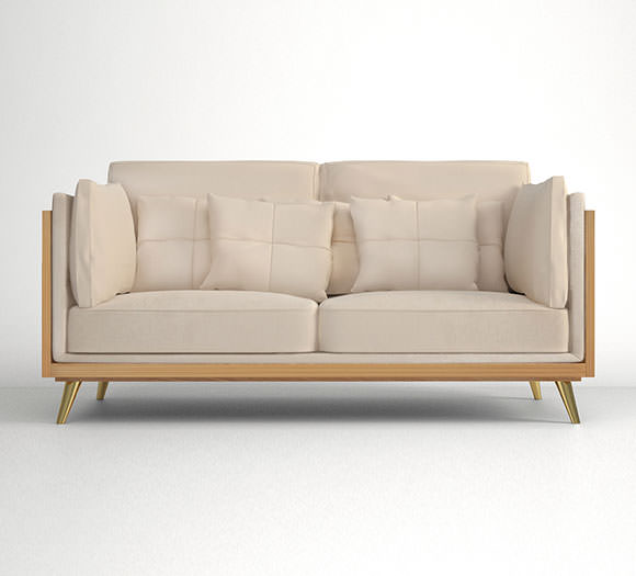 Upholstered in Cream Cotton Velvet, structure and legs in Figured Oak and elegant brass accents, will stand out elegantly in your house design.