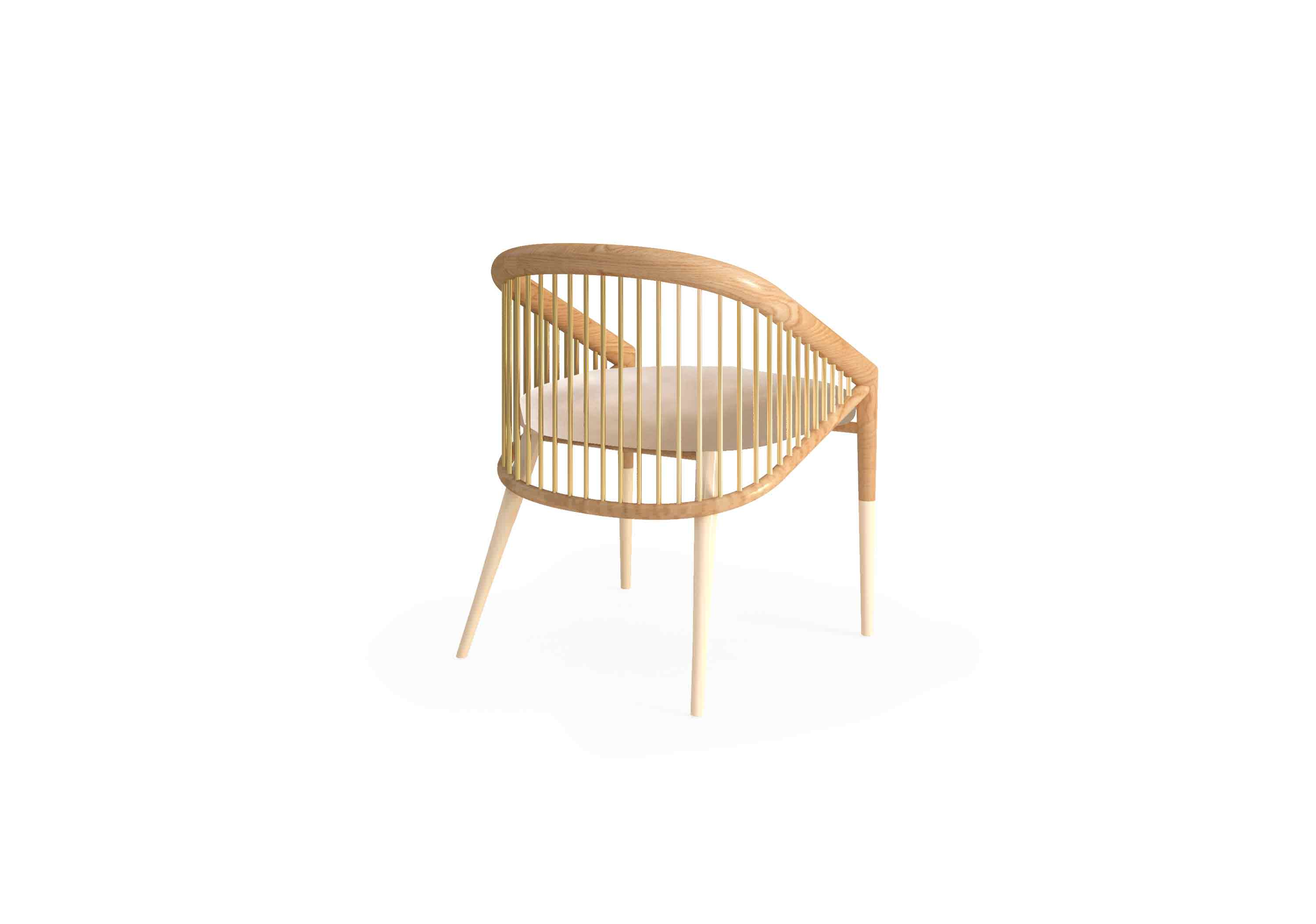 The polished brass tubes add a refined and sophisticated look to this design chair. Perfect for an elegant dining room.