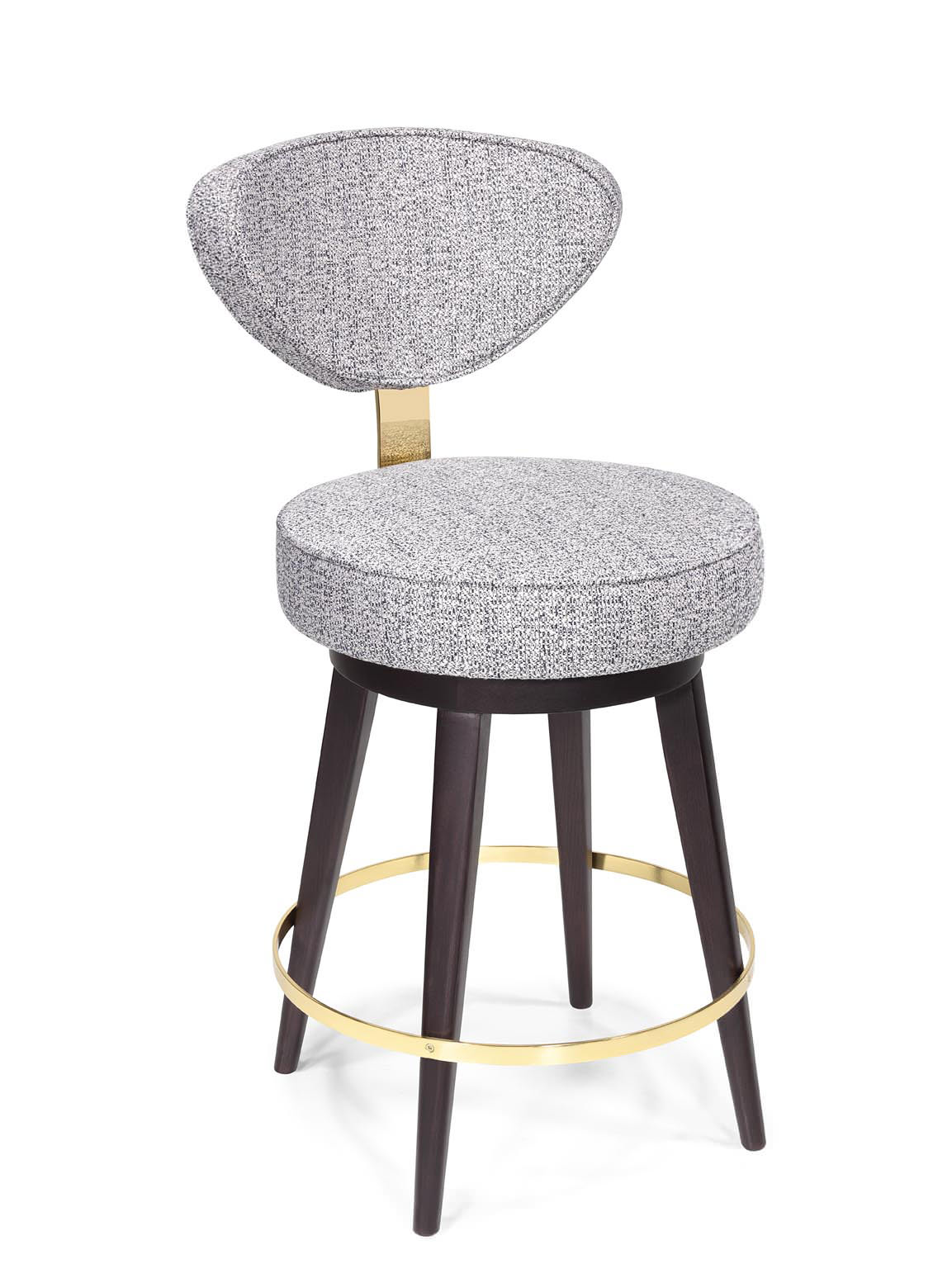 Counter stool with brass detailing