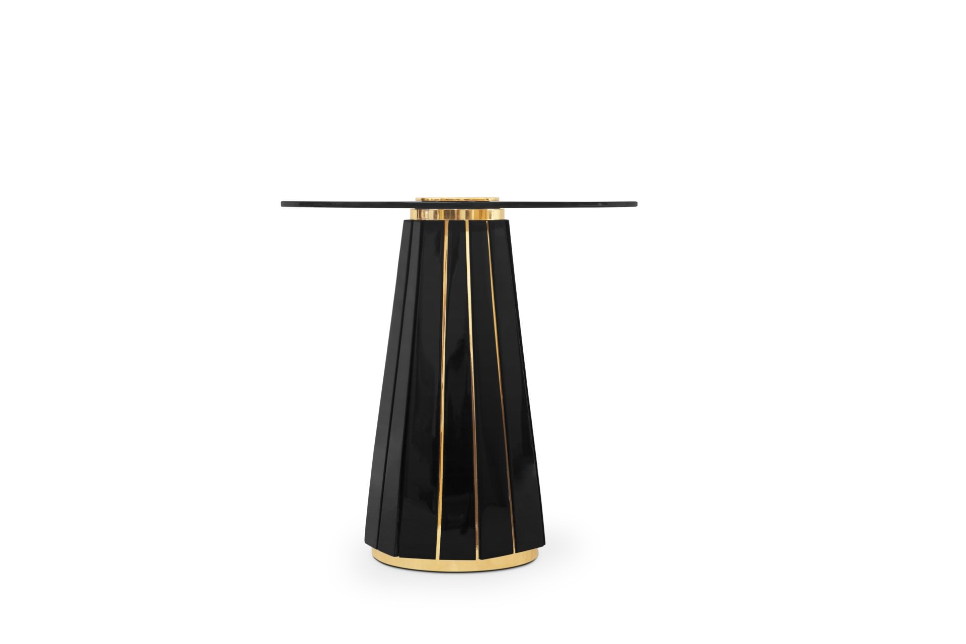 A ravishing handcraft side table, that is made of round smoked glass placed on top of a wooden structure in black lacquer touched by gold-plated brass bars. This luxury item (...)
