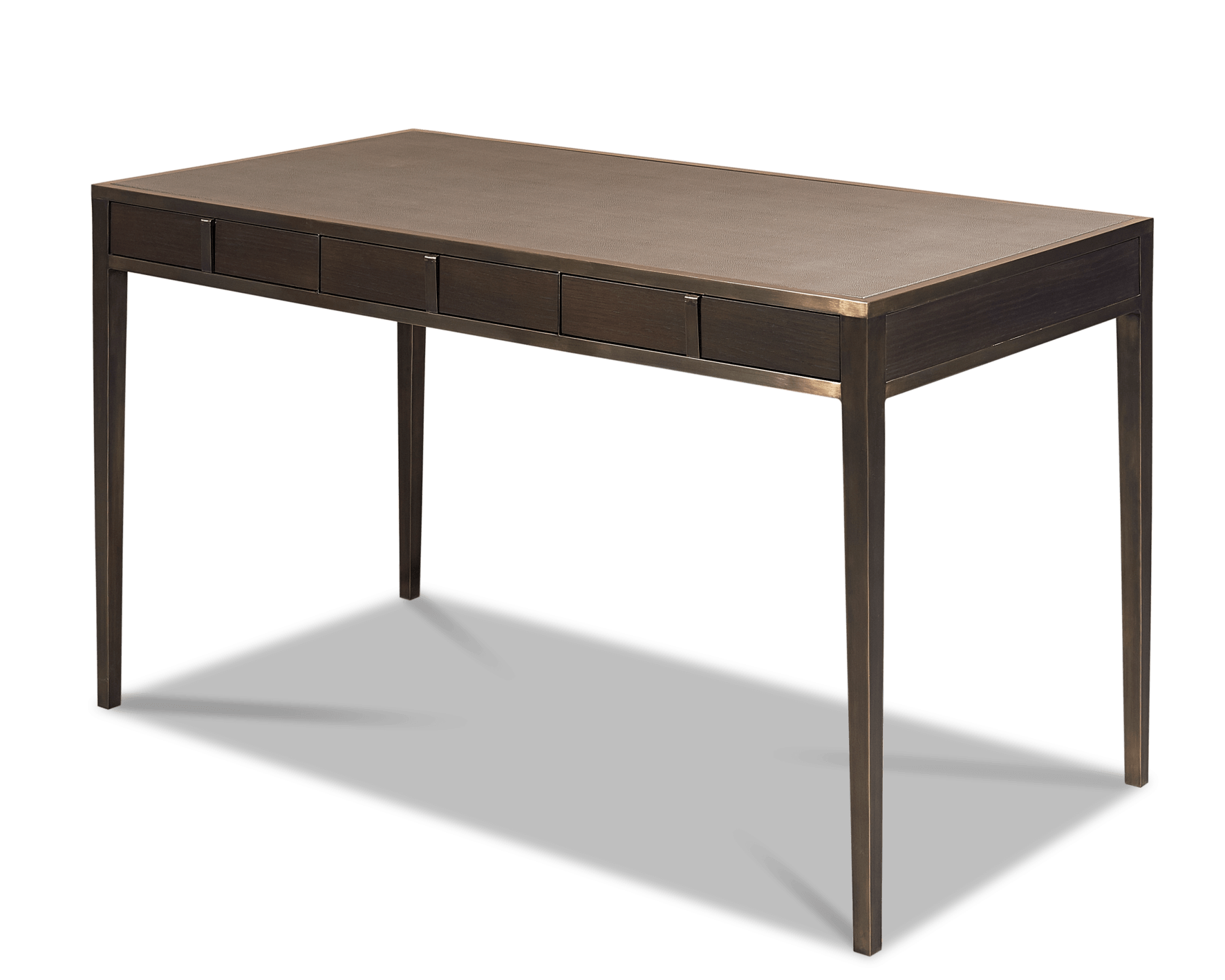 Brass, leather and oak desk