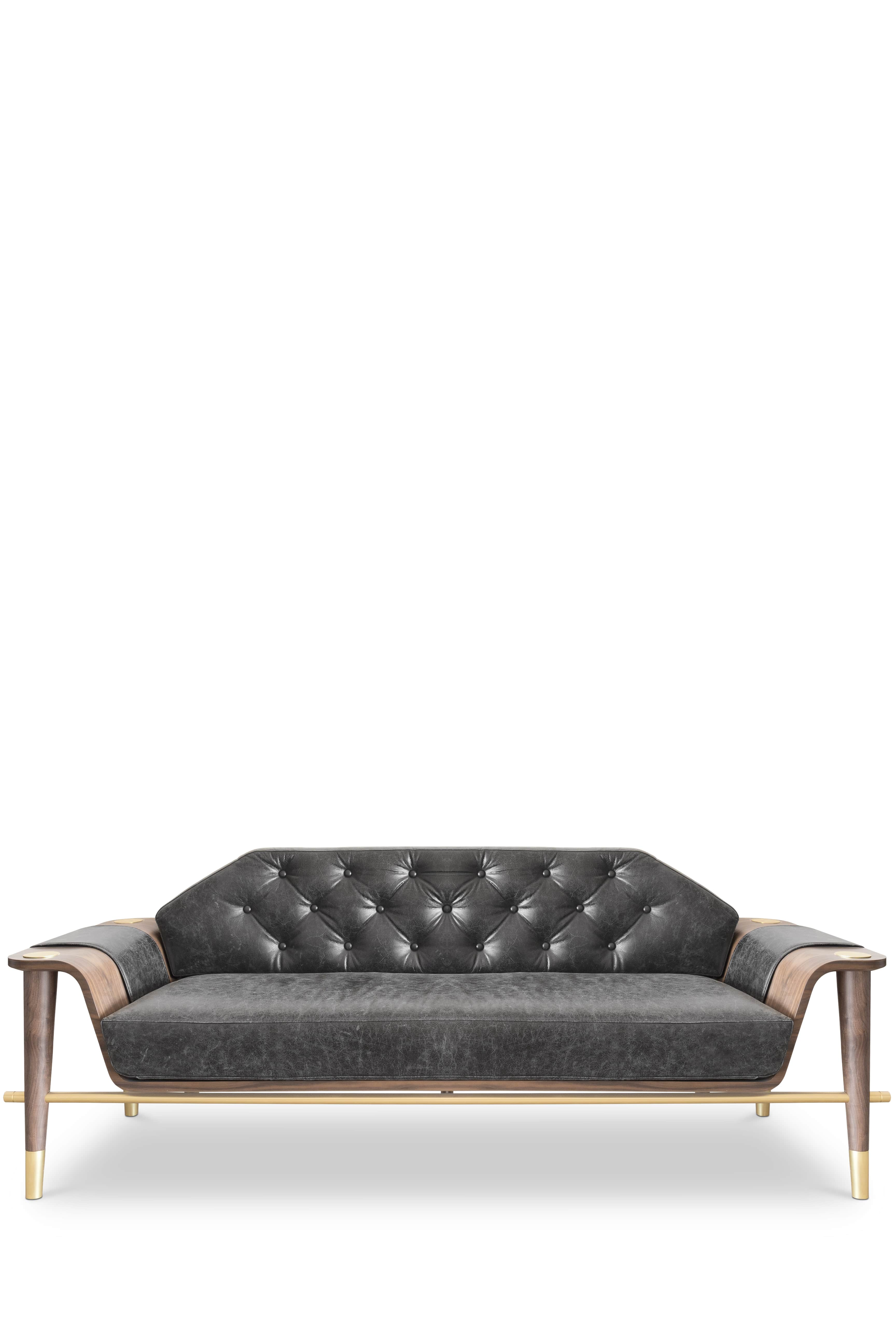 Curtis Sofa is a modern piece with a beautiful dark walnut structure.